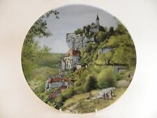 """D'Arceau-Limoges Porcelain 8.25"""" Plate """"Flock of Sheep in the Auvergne"""" 1988."""