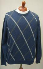 Fynch Hatton 100% Merino Lambswool Blue Grey Diamond Pattern Crew Neck Jumper L