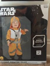 Toddler-Star-Wars-X-Wing-Fighter-Pilot-2-Pcs-Costume-Size-3T-4T-Romper-Headpiece