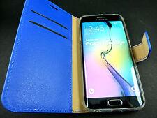 Housse Etui Pochette Portefeuille Bleu CUIR VERITABLE Samsung Galaxy S7 Edge