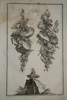 DELAFOSSE (1734-1789) GRAVURE XVIII° ORNEMENT ALLÉGORIE BAROQUE ARCHITECTURE u