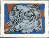 """""""Kuh und Stier"""", 1961. Farblithographie Hans ERNI (1909-2015 SUI) handsigniert"""
