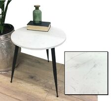 ROUND STONE COFFEE SIDE TABLE METAL LEGS