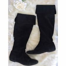 Cole Haan Tall Boots Womens 8.5 B Black Suede Flat Cuffed Over The Knee Quinn