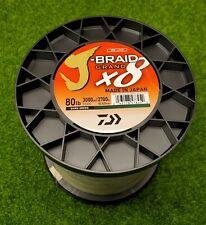 Daiwa J-Braid x8 GRAND Braided Line DARK GREEN 80lb, 3000yd - JBGD8U80-3000DG