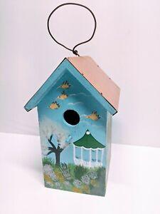 Peaked Sky Blue Birdhouse Copper Roof 6 X 10 Vintage