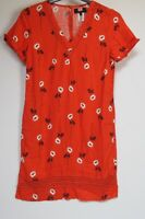Next Orange Red Floral Print Linen Blend Summer T Shirt Dress - Size 6 - 26