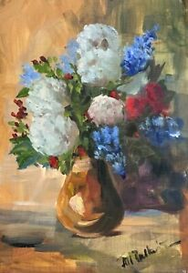A4 Print of Original oil painting art flowers floral  impressionism shabby chic