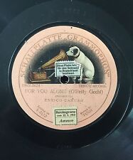 """RARE 78RPM 10"""" ONE SIDED ENRICO CARUSO FOR YOU ALONE SCHALLPLATTE GRAMMOPHON"""