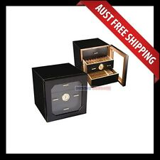 Cairnlea Cigar Humidor, 100+ Wooden Cedar Humidor, 3 Drawers Black Cigar Cabinet