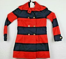 Tommy Hilfiger Womens Size XS Double Breasted Coat red/navy stripe w/gold button