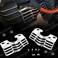 1Pair Chrome Finned Slotted Head Bolt Spark Plug Covers For Harley Touring