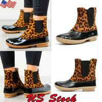 Women's Casual Slip On Waterproof  Rain Boots Ladies Leopard Print Duck Shoes US