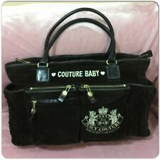 JUICY COUTURE VELOUR BABY DIAPER BLACK LARGE TOTE BAG with Changing Pad