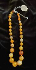 "Iris & Lily London Golden Color Agate Graduated Necklace 20"" Sterling NWT"