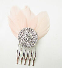 Blush Light Pink Silver Diamante Feather Hair Comb Fascinator Bridal Vintage B01