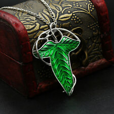 New Vintage Lord of The Rings Green Leaf Elven Pin Brooch Pendant Chain Necklace