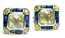 New 925 sterling silver natural Blue Sapphire & white Topaz unisex cuff links