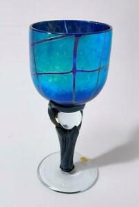 COLIN HEANEY IRIDESCENT AUSTRALIAN ART GLASS WINE GOBLET SIGNED LABELLED #2