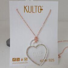Collana argento 925 rosè Kulto cuore trasparente plexiglass Necklace