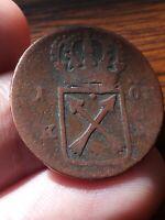 Rare Sweden 1719 1 Ore KM# 364? copper coin 170919