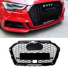 Rs3 Style Front Grille For 2017-2019 Audi A3 S3 Grill With Acc Hole Gloss Black (Fits: Audi)