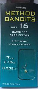 "DRENNAN METHOD BANDITS CARP FEEDER - 8 BARBLESS 3.5"" (90mm) HAIR RIGS WITH BANDS"