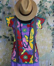 Hand Embroidered Multi-Color Huipil Jalapa Mexico Hippie Boho Cowgirl Santa Fe