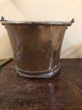 Ancien Seau Cache Pot En Cuivre Poignee Suspensions Fleur