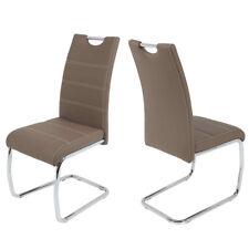 Schwingstuhl Freischwinger Flora 4er Set Stuhl Lederlook Latte Chrom