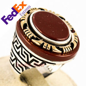 925 Sterling Silver Agate Stone Turkish Handmade Men's Ring All Sizes