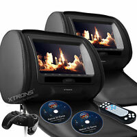"2X 7"" HD LCD Car Pillow Headrest Monitor DVD Player Game IR/USB/SD Black Leather"