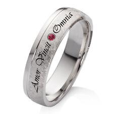 Verlobungsring Trauring Silber mit persönlicher Lasergravur rotem Zirkonia ZRL43