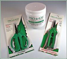 PRO 420 Scissors & Cleaner Bundle - Trimmers Choice - Teflon Coated Bud Scissors