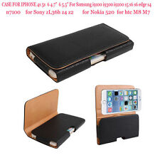 Black PU Leather Belt Clip Holster Pouch Case For Samsung Sony iphone HTC Nokia