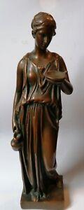 Grande Statue bronze femme drapée offrande antique grec signé a identifier