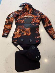 SEAC Tattoo 5.0 Orange Spearfishing Suit Jacket Small.