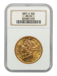1897-S $20 NGC MS63 - Liberty Double Eagle - Gold Coin