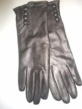 Ladies Women's100% Cashmere Lined Genuine Leather Gloves, Medium,Silver