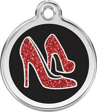 Red Shoes Glitter Enamel/Solid Stainless Steel Engraved ID Dog/Cat Tag