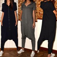 ZANZEA 8-24 Womens Short Sleeve Zipper Casual Baggy Playsuits Drop-Crotch Pants