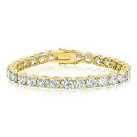 Gold Plated Cubic Zirconia Tennis Bracelet 6mm Round White CZ