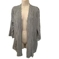 J. Jill Wearever Collection Black & White Houndstooth Knit Open Jacket PL
