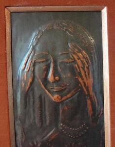 50s  MOI VER  HAMMERED COPPER  FOLK ART signed  Moishe Raviv  in  SAFED  13 x 26