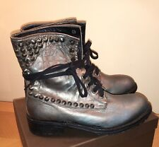 💫 ASH Silver Ralph Leather Biker Boots With Studs Size 39 - New £300