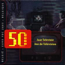 """Belgien offizieller KMS 2003 im Folder/BU """"50 Jahre Fernsehen"""" mit Medaille"""