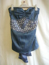 Ladies Top - tfnc, size1 (small) bandeau, beading/jewels, blue/grey stretch 0774