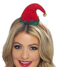 donna vestito natale mini elfo cappello su fascia rosso / Verde NUOVO DA SMIFFYS