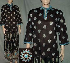 Tunika Bluse Hemd Kurta Goa Bollywood Blumen schwarz blau 36/40