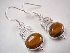 Tiger Eye Cabochon Earrings with Triple Crests Dangle Drop 925 Sterling Silver